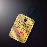 Μαύρη χρυσή ετικέττα πωλήσεων Παρασκευής Στοκ Φωτογραφία