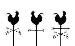 Μαύρη cockerel σκιαγραφία Στοκ εικόνα με δικαίωμα ελεύθερης χρήσης