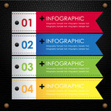 Μαύρη infographic ζωηρόχρωμη κορδέλλα δέρματος Στοκ Εικόνες
