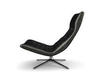 Μαύρη lather πολυθρόνα που απομονώνεται στην άσπρη τρισδιάστατη απόδοση υποβάθρου ελεύθερη απεικόνιση δικαιώματος