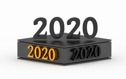 2020 μαύροι αριθμοί σε μια εξέδρα διανυσματική απεικόνιση