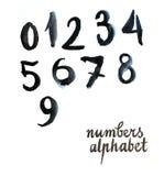 Μαύροι αριθμοί Watercolor Στοκ εικόνες με δικαίωμα ελεύθερης χρήσης