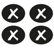 Μαύροι κύκλοι με το μικρό σταυρό διάνυσμα διανυσματική απεικόνιση