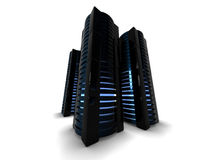 Μαύροι πύργοι κεντρικών υπολογιστών Στοκ εικόνες με δικαίωμα ελεύθερης χρήσης