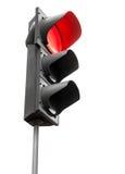 Μαύροι φωτεινοί σηματοδότες το κόκκινο σήμα που απομονώνεται με στο λευκό Στοκ εικόνα με δικαίωμα ελεύθερης χρήσης