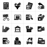Μαύροι φόροι, εικονίδια επιχειρήσεων και χρηματοδότησης ελεύθερη απεικόνιση δικαιώματος