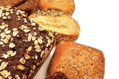 Μαύροι ψωμί και ρόλος ψωμιού Στοκ Εικόνες