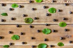Μαύροι chokeberry και φύλλα μούρων Aronia στο ξύλινο υπόβαθρο στο αγροτικό ύφος Στοκ φωτογραφία με δικαίωμα ελεύθερης χρήσης