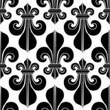 Μαύρος & άσπρος άνευ ραφής βασιλικός κρίνος οικοσημολογίας σχεδίων Στοκ Φωτογραφίες