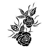 Μαύρος αυξήθηκε δερματοστιξία λουλουδιών, απομονωμένο διάνυσμα Στοκ εικόνα με δικαίωμα ελεύθερης χρήσης