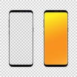 Μαύρος-γκρίζο χρώμα Smartphone με τη διαφανή οθόνη αφής, σε ένα άσπρο υπόβαθρο επίσης corel σύρετε το διάνυσμα απεικόνισης Στοκ Φωτογραφίες