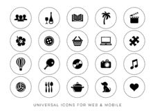 Μαύρος διανυσματικός Ιστός ελεύθερου χρόνου και κινητά εικονίδια ελεύθερη απεικόνιση δικαιώματος