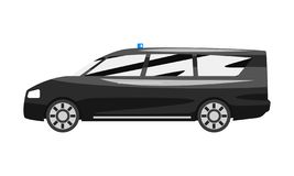 Μαύρος εκτελεστικός minivan με την μπλε σειρήνα αναλαμπτήρων, διανυσματική απεικόνιση πλάγιας όψης οχημάτων επιχειρησιακής πολυτέ ελεύθερη απεικόνιση δικαιώματος