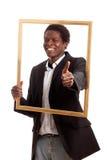 μαύρος επιχειρηματίας picturefram Στοκ εικόνες με δικαίωμα ελεύθερης χρήσης