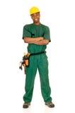 μαύρος εργάτης οικοδομώ&n Στοκ Φωτογραφία