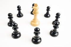 Μαύρος λευκός βασιλιάς ενέχυρων aroound Στοκ Φωτογραφίες