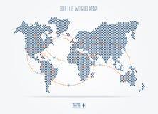 Μαύρος διαστιγμένος αφηρημένος παγκόσμιος χάρτης ταξιδιού με τις διαδρομές πτήσης απεικόνιση αποθεμάτων