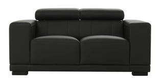 Μαύρος καναπές δέρματος Στοκ Φωτογραφίες