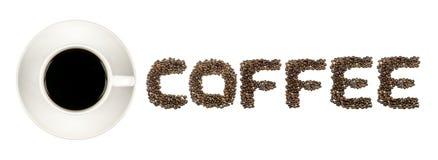 Μαύρος καφές στον άσπρο ΚΑΦΕ κειμένων κοσμητόρων φλυτζανιών και καφέ που απομονώνεται στο λευκό Στοκ εικόνες με δικαίωμα ελεύθερης χρήσης