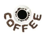 Μαύρος καφές στον άσπρο ΚΑΦΕ κειμένων κοσμητόρων φλυτζανιών και καφέ που απομονώνεται στο λευκό Στοκ φωτογραφίες με δικαίωμα ελεύθερης χρήσης