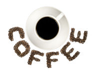 Μαύρος καφές στον άσπρο ΚΑΦΕ κειμένων κοσμητόρων φλυτζανιών και καφέ που απομονώνεται στο λευκό Στοκ Φωτογραφία