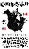 Μαύρος κενός χάρτης των ΗΠΑ και του Καναδά Στοκ εικόνες με δικαίωμα ελεύθερης χρήσης