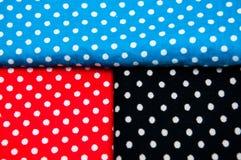 Μαύρος, κόκκινος και μπλε ιστός με τα σημεία Πόλκα Στοκ Φωτογραφία