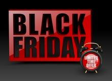 Μαύρος κόκκινος τοίχος Παρασκευής στο μαύρο υπόβαθρο Διανυσματικό ξυπνητήρι με το περιορισμένο κείμενο χρονικής προσφοράς Έμβλημα Στοκ Εικόνες
