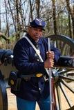 Μαύρος ομοσπονδιακός στρατιώτης στη φρουρά Στοκ φωτογραφίες με δικαίωμα ελεύθερης χρήσης