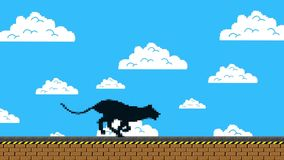 Black Panther Running in an Old Video Game Arcade Style Stock Footage