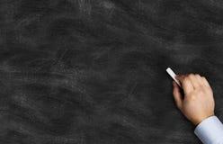 Μαύρος πίνακας κιμωλίας με την κιμωλία εκμετάλλευσης χεριών Στοκ φωτογραφίες με δικαίωμα ελεύθερης χρήσης