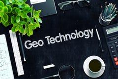 Μαύρος πίνακας κιμωλίας με την έννοια τεχνολογίας Geo τρισδιάστατη απόδοση Στοκ Εικόνα