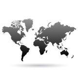 Μαύρος παγκόσμιος χάρτης διανυσματική απεικόνιση