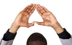 Μαύρος που παρουσιάζει σημάδι καρδιών Στοκ φωτογραφία με δικαίωμα ελεύθερης χρήσης