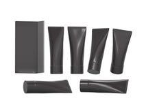 Μαύρος πλαστικός σωλήνας υγιεινής ομορφιάς με το ψαλίδισμα της πορείας Στοκ Εικόνα