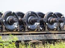 Μαύρος σίδηρος των ροδών τραίνων Στοκ εικόνα με δικαίωμα ελεύθερης χρήσης