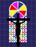 Μαύρος σταυρός στο ζωηρόχρωμο τοίχο Cristal στο ναό Στοκ φωτογραφία με δικαίωμα ελεύθερης χρήσης