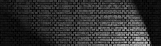 Μαύρος τουβλότοιχος, ευρεία πανοραμική σύσταση επιφάνειας πετρών Στοκ Φωτογραφίες