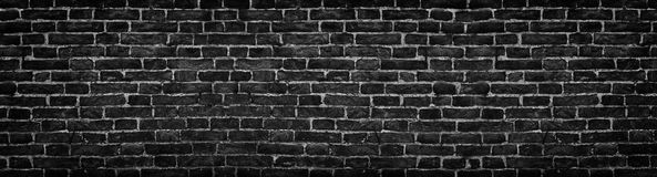 Μαύρος τουβλότοιχος, ευρύ πανόραμα ως σκηνικό Στοκ φωτογραφία με δικαίωμα ελεύθερης χρήσης