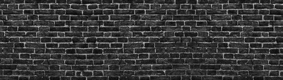 Μαύρος τουβλότοιχος, ευρύ πανόραμα ως σκηνικό Στοκ Εικόνες