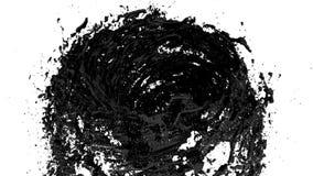 Μαύρος υγρός ανεμοστρόβιλος στο άσπρο υπόβαθρο Το όμορφο χρωματισμένο χρώμα όπως το μαύρο πετρέλαιο Απομονωμένος διαφανής ελεύθερη απεικόνιση δικαιώματος