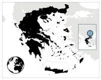 Μαύρος χάρτης της Ελλάδας Στοκ Φωτογραφίες