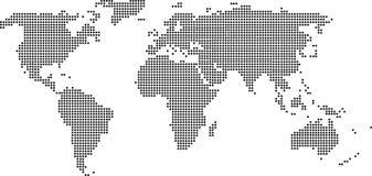 Μαύρος χάρτης του κόσμου Στοκ Φωτογραφίες