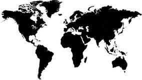 Μαύρος χάρτης του κόσμου Στοκ Εικόνα