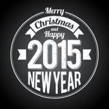 Μαύρος χαιρετισμός έτους Χριστουγέννων νέος Στοκ Εικόνα