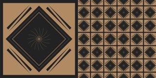 Μαύρος-χρυσός διανυσματικός αφηρημένος άνευ ραφής Στοκ Εικόνες