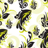 μαύρος floral πράσινος άνευ ραφή& απεικόνιση αποθεμάτων