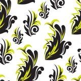 μαύρος floral πράσινος άνευ ραφή& Στοκ Εικόνα