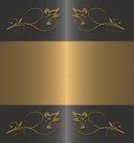 μαύρος floral χρυσός grame Στοκ Εικόνα