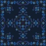 Μαύρου και μπλε σχέδιο Bandana, με τα τριαντάφυλλα Διανυσματικό τετράγωνο τυπωμένων υλών Στοκ Εικόνες